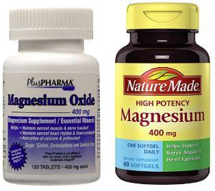 two bottles of magnesium supplements